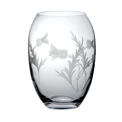Vase Gift by Cut Crystalware Flower Of Scotland Medium Barrel