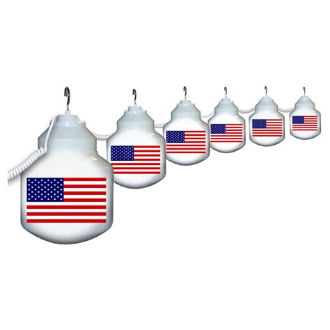 6 globe american flag string lights