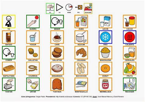 pictogramas alimentos inform 225 tica para educaci 243 n especial tablero de