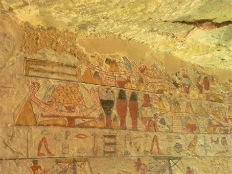 Egyptian Wall Mural causeway wall paintings picture of pyramid of unas