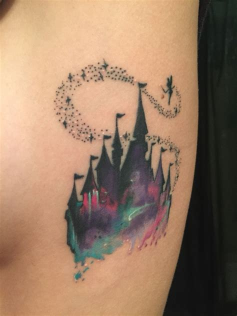 my disney castle watercolor tattoos