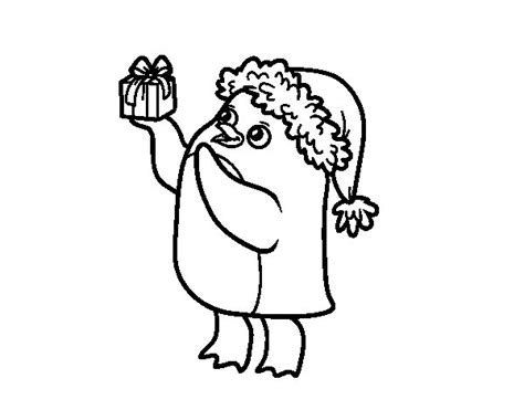 Dibujos De Navidad Para Colorear Dibujosnet | dibujo de ping 252 ino con gorro y regalo de navidad para