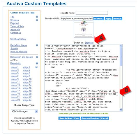 Auctiva Templates how to customize a listing template auctiva tutorials