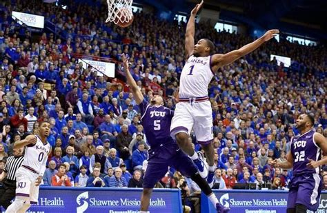 kansas city star sports section ku s wayne selden swatted this shot by tcu s kyan anderson