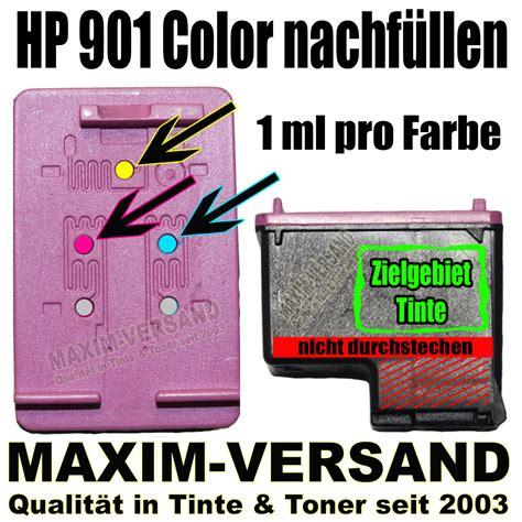 hp 901 color druckerpatronen nachf 252 llen anleitung zum auff 252 llen
