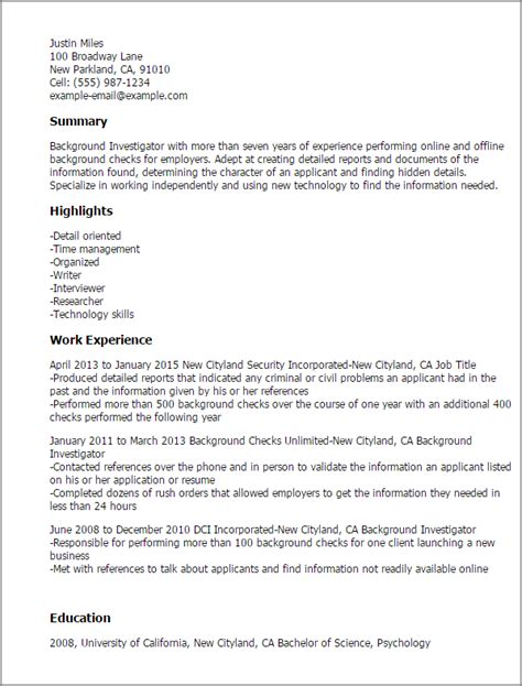 Background Investigator Resume Template Best Design Tips Myperfectresume Background Check Email Template
