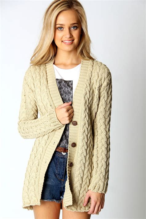 cable knit cardigan womens boohoo cable knit sleeve hip length cardigan ebay