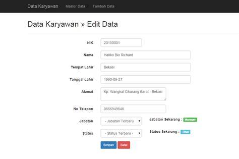 membuat tilan depan web dengan php source code aplikasi membuat crud data karyawan dengan