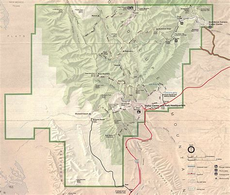guadalupe mountains texas map guadalupe mountains national park