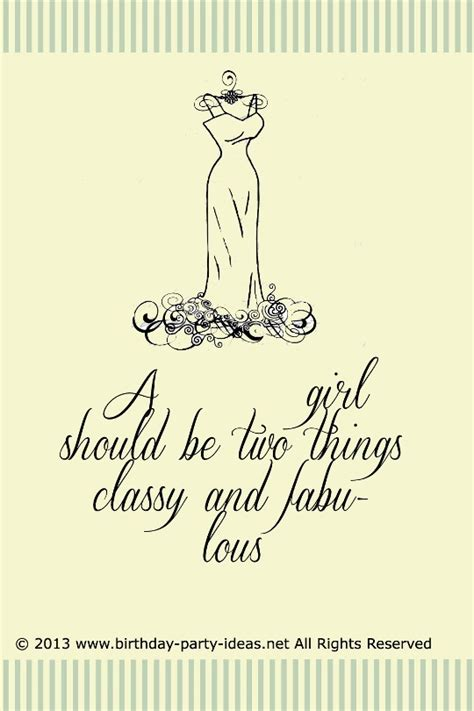 theme party quotes fashion birthday theme a girl should be two things classy