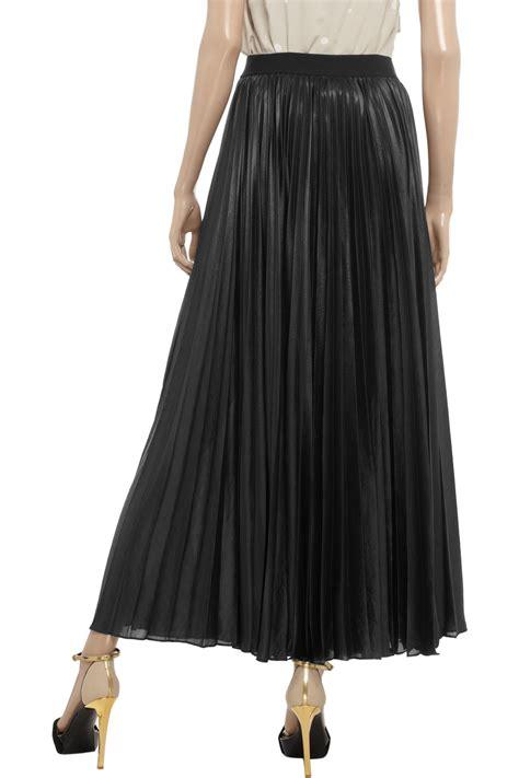 bcbgmaxazria pleated chiffon maxi skirt in black lyst