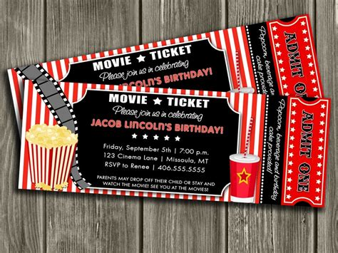 free printable movie tickets invitations movie invitations template resume builder