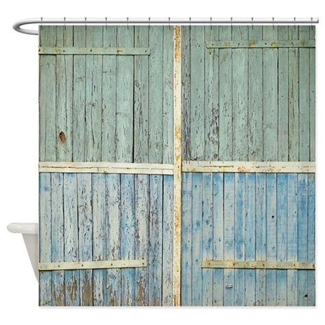 Shower Curtain Door Rustic Wood Doors Shower Curtain By Rebeccakorpita