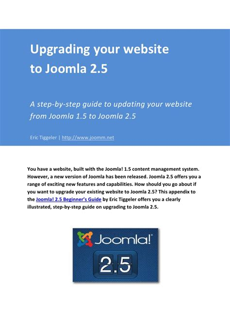 manual joomla upgrade upgrading your website from joomla 1 5 to joomla 2 5
