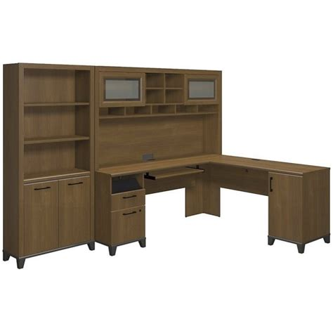Bush Achieve 3 Piece L Shape Desk Office Set In Warm Oak Bush Office Desk