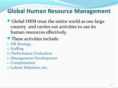 International Human Resource Management Notes Mba by Global Human Resource Management Gcm
