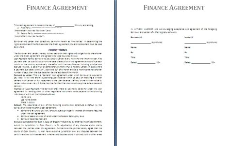 finance agreement template free agreement templates