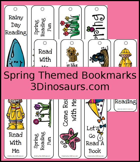 printable bookmarks spring spring themed bookmarks 3 dinosaurs