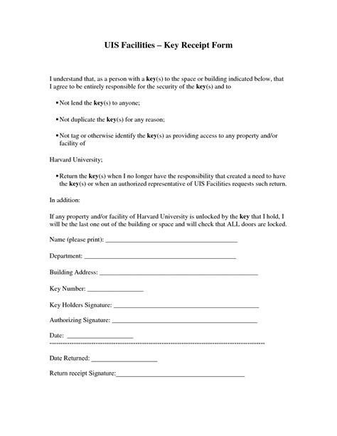key receipt template best photos of key agreement template employee key
