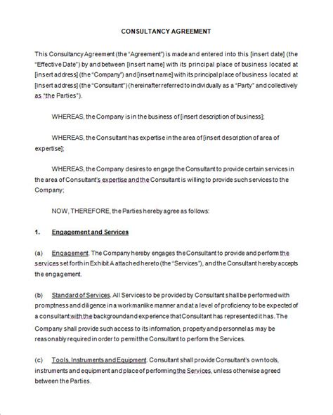 consultant agreement template 6 consulting contract templates free word pdf