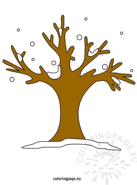 winter tree with snowflakes coloring page