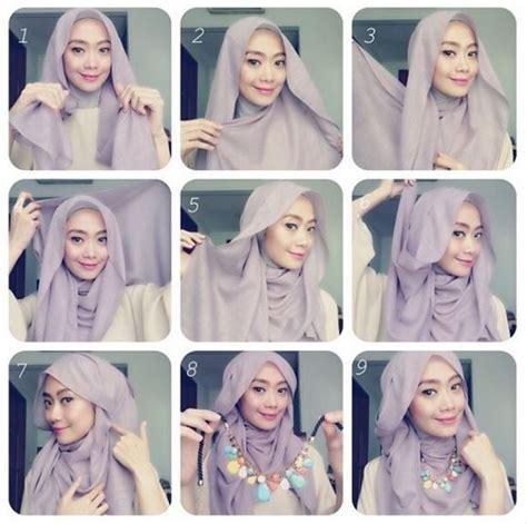 tutorial gambar berhijab pashmina tutorial cara memakai hijab modern pashmina praktis
