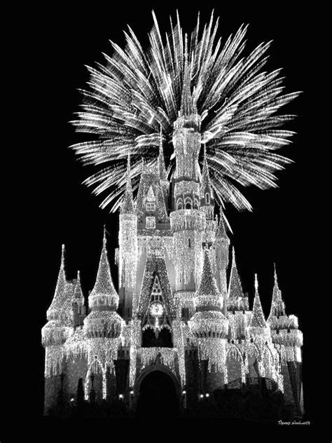 Cinderella Duvet Cover Castle With Fireworks In Black And White Walt Disney World
