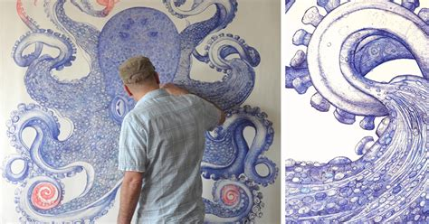 how to use doodle pen artist spends 1 year using only discarded ballpoint pens
