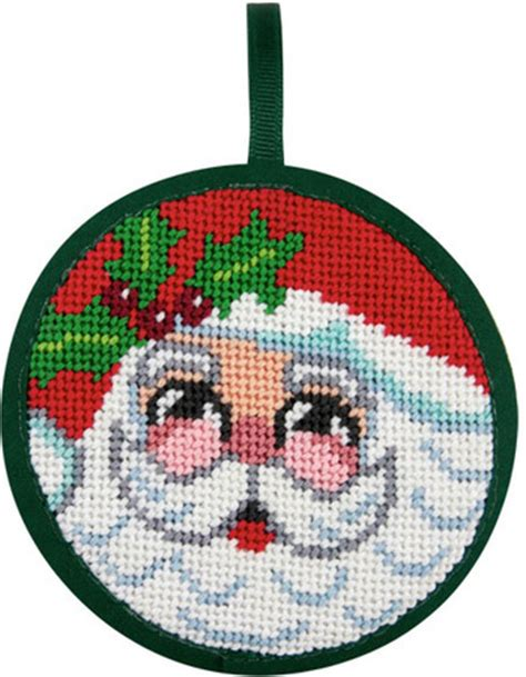 alice peterson santa face christmas ornament needlepoint