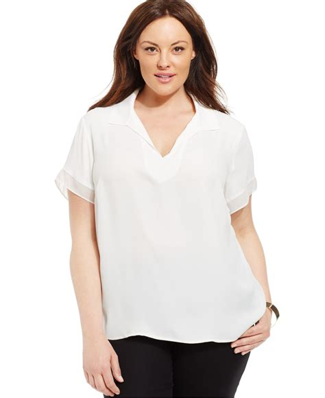 Dmj New York Blouse lyst jones new york collection plus size sleeve blouse in white
