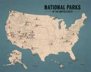 map of national parks in us us national parks map 11x14 print