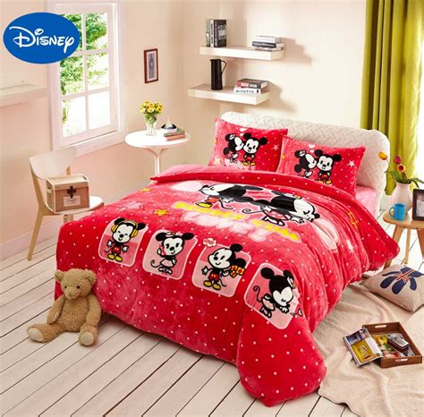 mickey mouse full size bedding set mickey minnie mouse print flannel comforter bedding set
