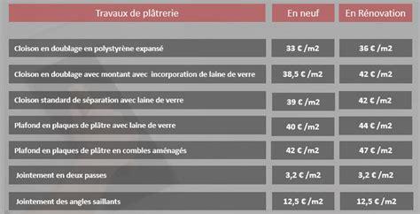 Prix Pose Placo M2 Avec Fourniture 4522 by Tarif Des Pl 226 Triers Plaquistes Lebonplatrier