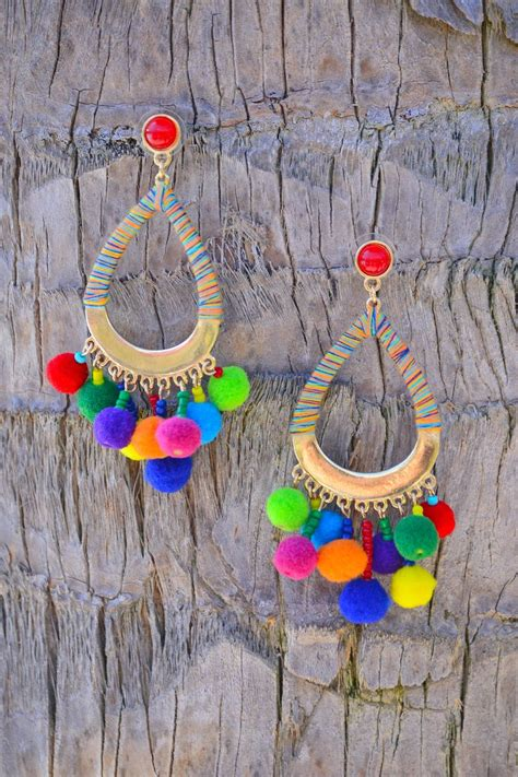 Pompom Accent Drop Earrings 249 best accessorize images on necklaces