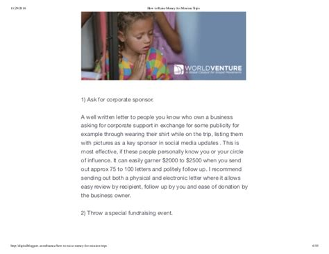 Sle Letter To Raise Money For Mission Trip how to raise money for mission trips