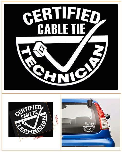 jdm sticker rear window certified cable tie technician funny car window jdm euro
