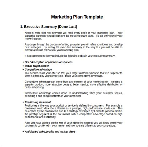 small business plan template free 21 microsoft word marketing plan templates free