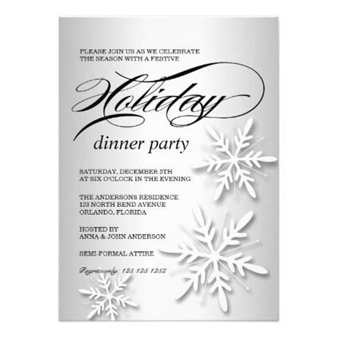 snowflakes holiday dinner party invite snowflakes