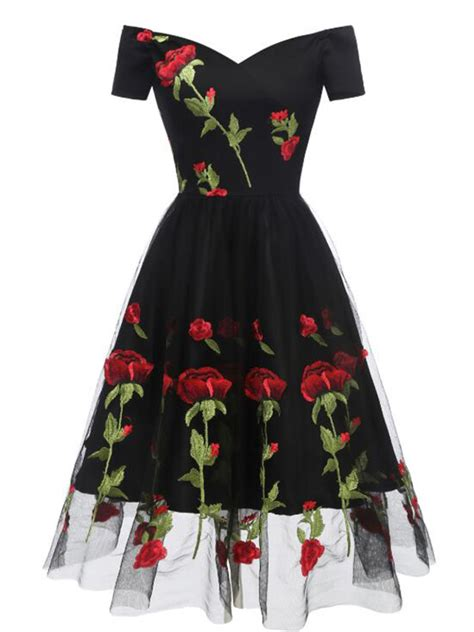 black floral  shoulder embroidery grenadine pleated