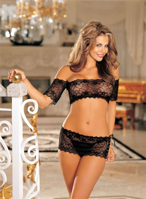 Set Lace Bra Lace black lace top and skirt set