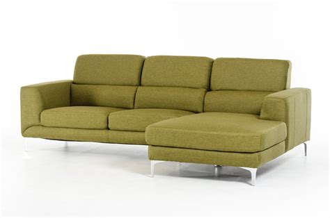 divani casa verdant mid century green fabric sectional sofa