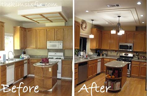 updating kitchen ideas replacing updating fluorescent ceiling box lights with