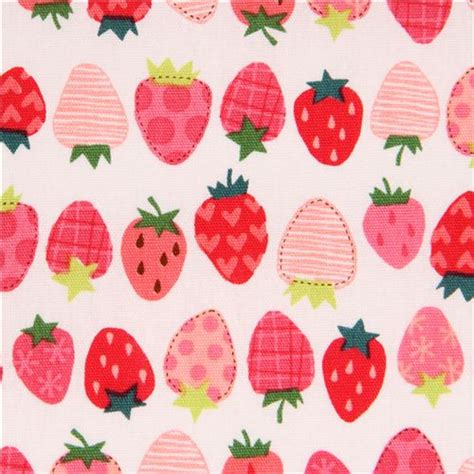 cute japanese pattern off white fabric cute red pink pattern strawberry by cosmo