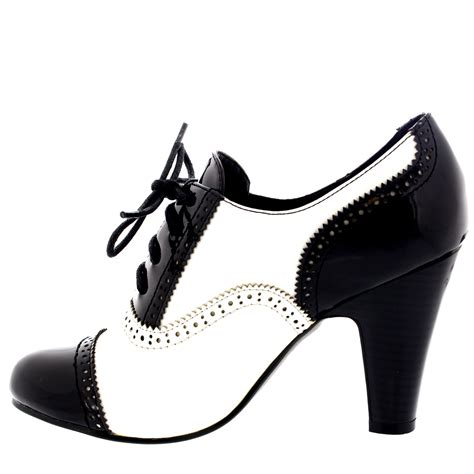 womens mid block heel lace up evening work ankle
