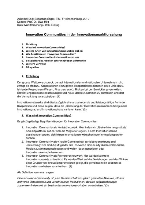 Muster Out Innovation Communities Handout