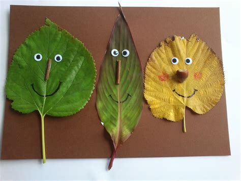 leaf craft for faces from fall leaves family crafts