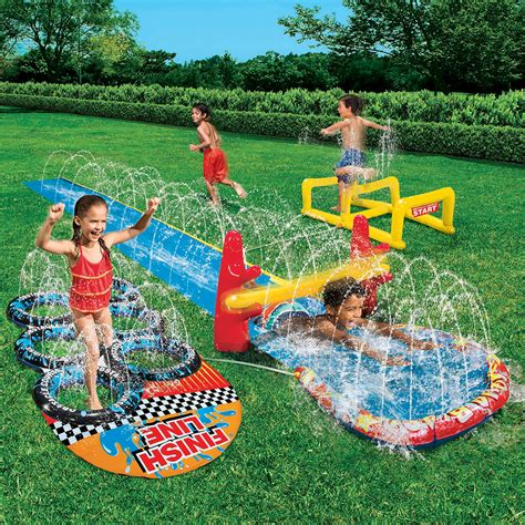 backyard water toys banzai 16 aqua blast obstacle course slide toys games