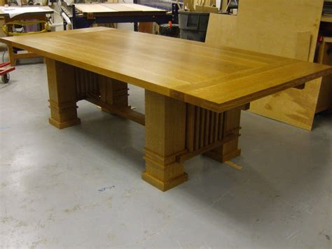 handmade solid oak prairie style dining table by beacon