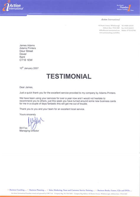 Service Company Thank You Letter Customer Testimonials Printers