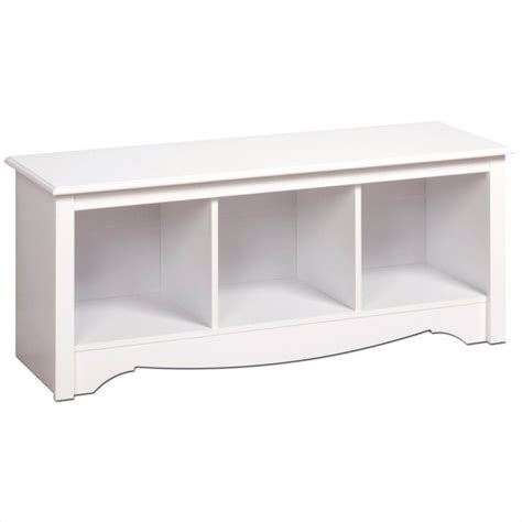 prepac monterey white cubby bench storage living room